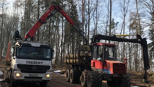 Das Bild zeigt einen Kleinholztransport mit Kran